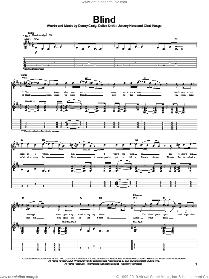 Blind sheet music for guitar (tablature) by Default, Spider-Man (Movie), Chad Kroeger, Dallas Smith and Danny Craig, intermediate