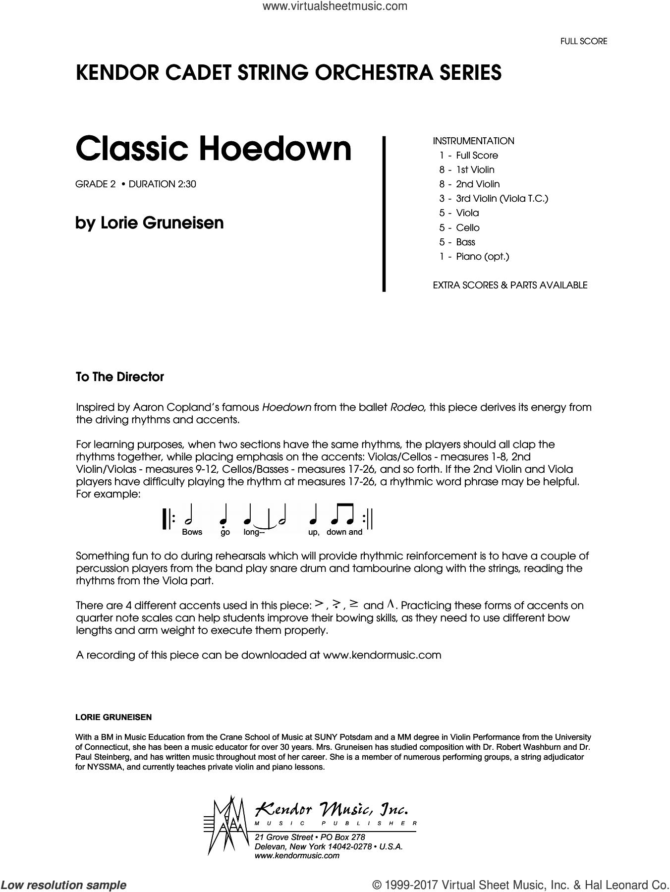 Classic Hoedown (COMPLETE) sheet music for orchestra by Lorie Gruneisen, intermediate. Score Image Preview.