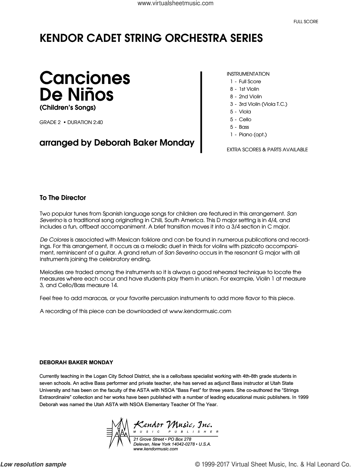 Canciones De Ninos (COMPLETE) sheet music for orchestra by Deborah Baker Monday, intermediate skill level