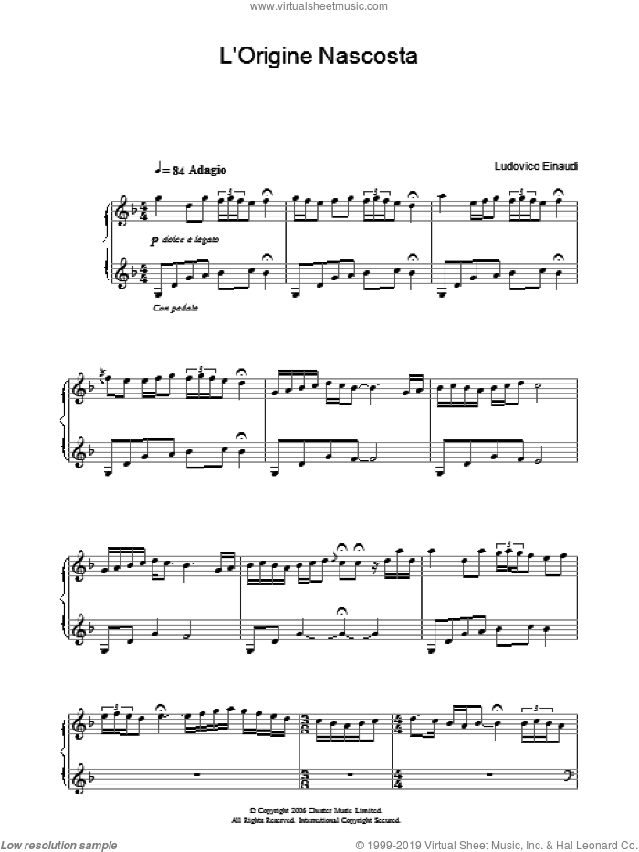 L'Origine Nascosta sheet music for piano solo by Ludovico Einaudi, classical score, intermediate skill level