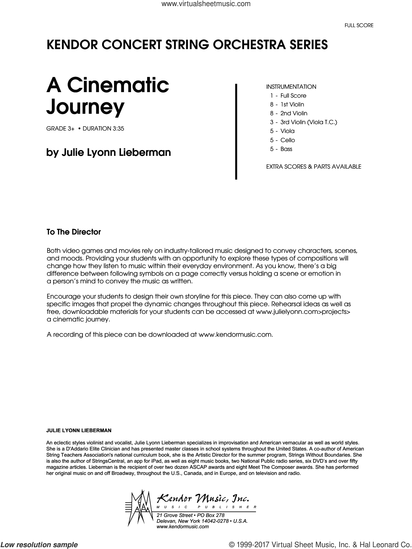 A Cinematic Journey (COMPLETE) sheet music for orchestra by Julie Lyonn Lieberman, intermediate. Score Image Preview.