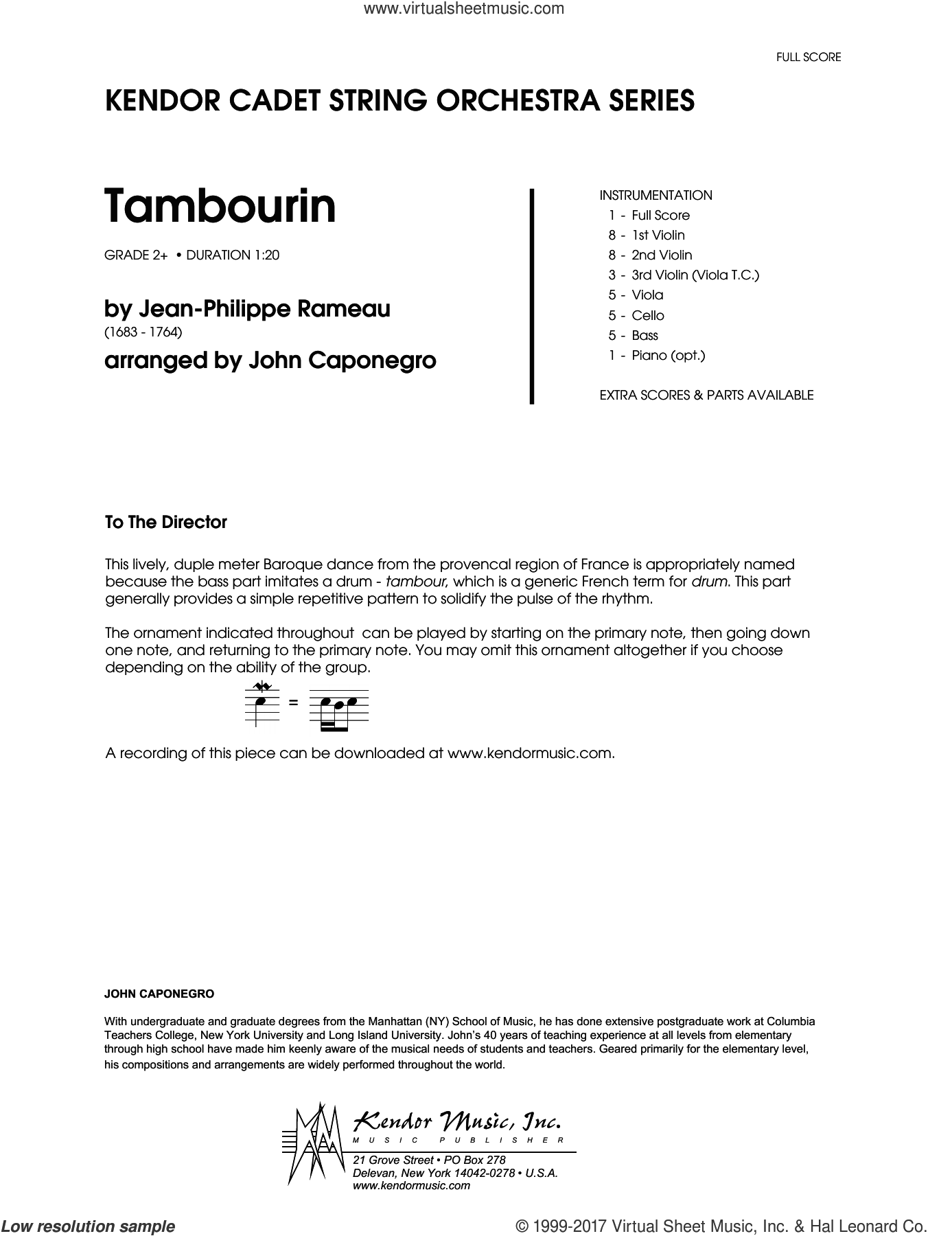 Tambourin (COMPLETE) sheet music for orchestra by John Caponegro and Rameau, intermediate skill level