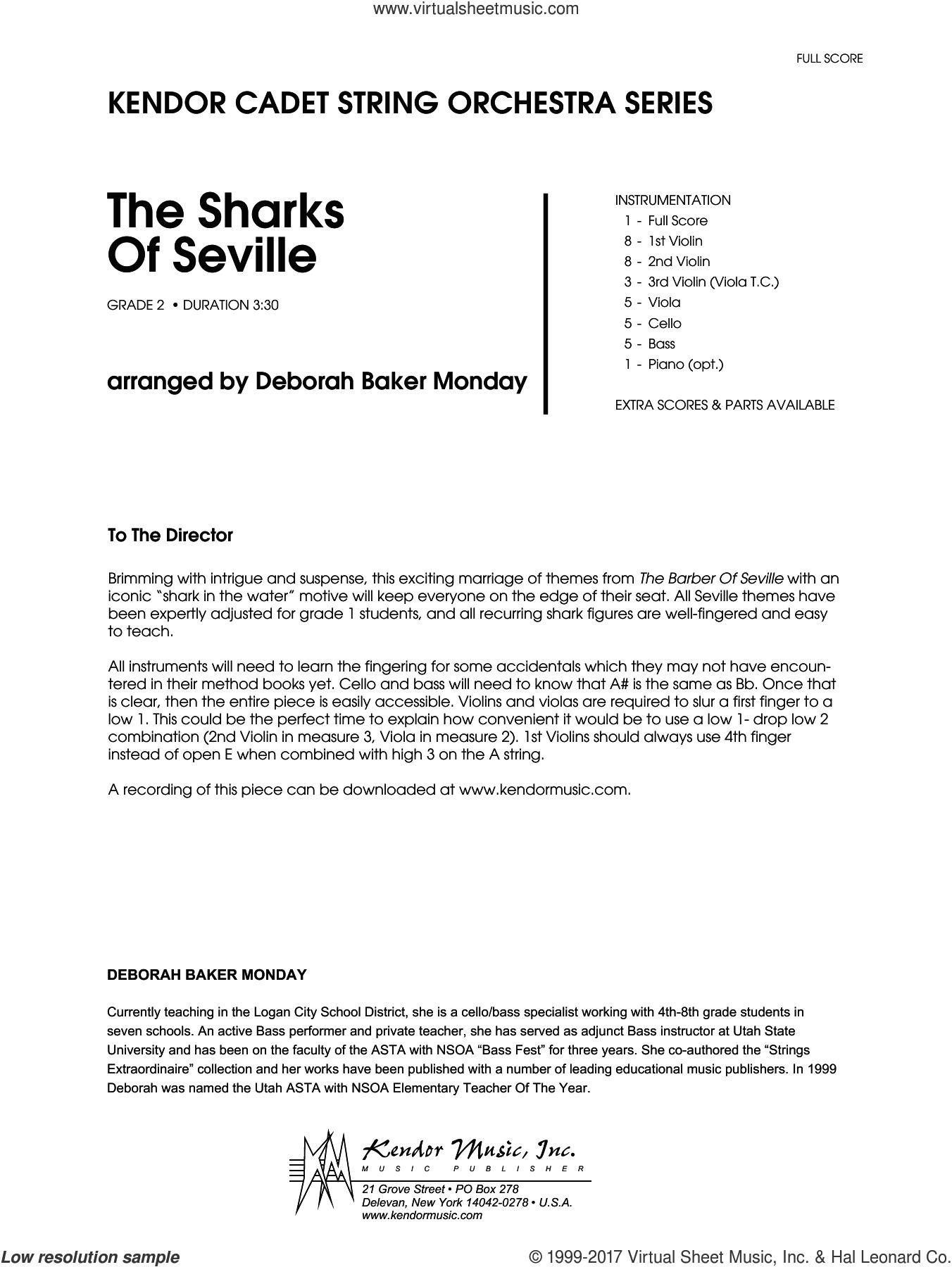 The Sharks Of Seville (COMPLETE) sheet music for orchestra by Deborah Baker Monday, intermediate skill level