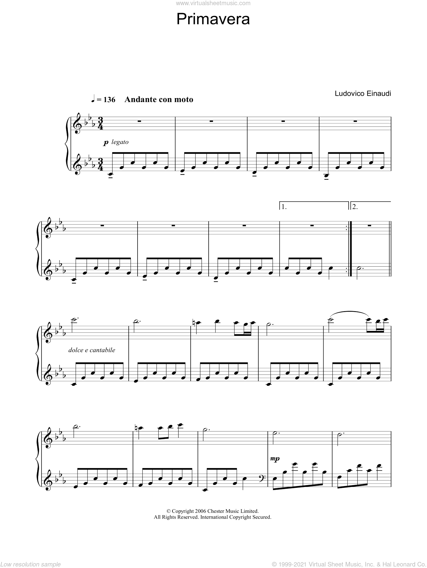 Primavera sheet music for piano solo by Ludovico Einaudi, classical score, intermediate skill level