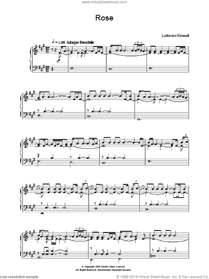 Rose sheet music for piano solo by Ludovico Einaudi. Score Image Preview.