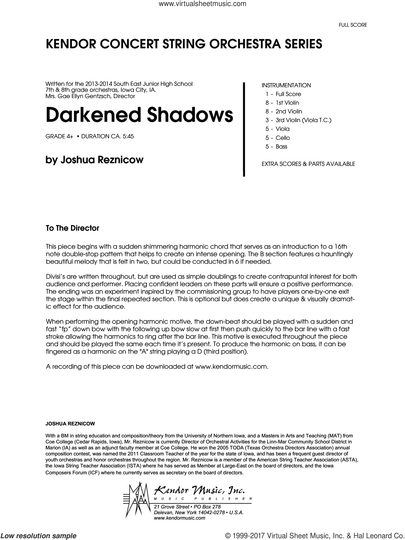 Darkened Shadows (COMPLETE) sheet music for orchestra by Joshue Reznicow, intermediate orchestra. Score Image Preview.