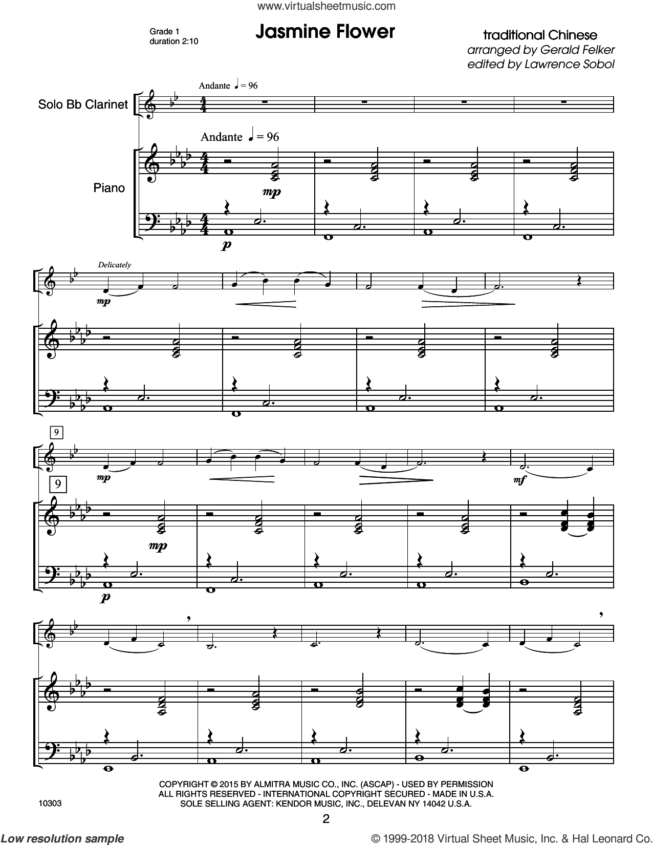 Kendor Debut Solos - Bb Clarinet - Piano Accompaniment sheet music for clarinet solo by Sobol, intermediate skill level