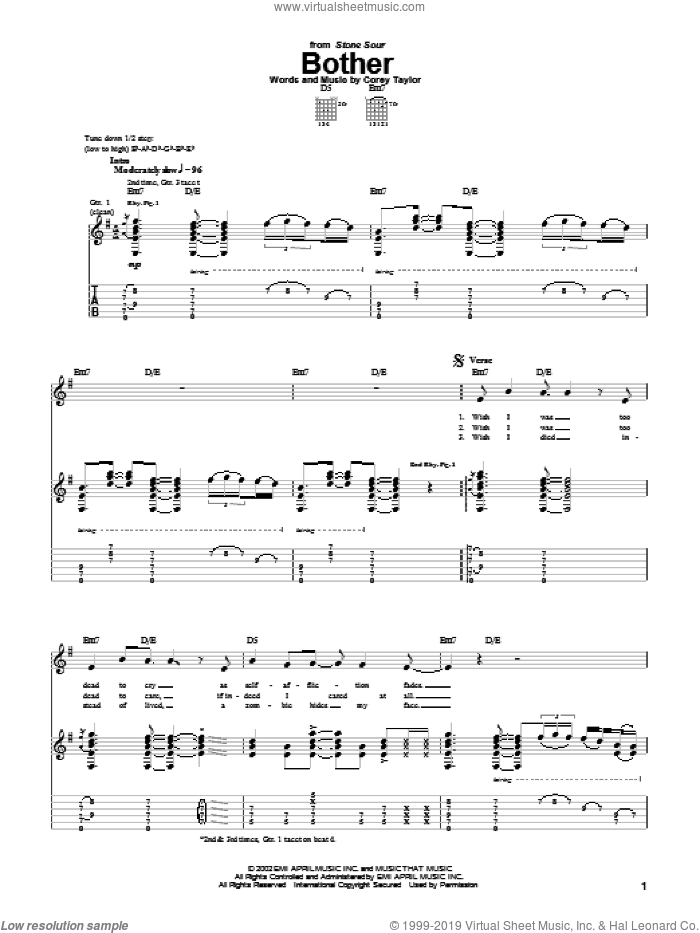 Bother sheet music for guitar (tablature) by Stone Sour and Corey Taylor. Score Image Preview.
