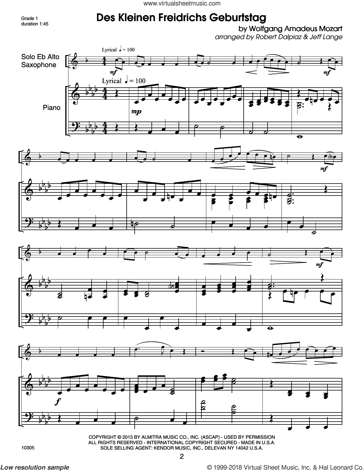 Kendor Debut Solos - Eb Alto Sax - Piano Accompaniment sheet music for alto saxophone and piano (piano) by Carl Strommen and Robert John Lange. Score Image Preview.