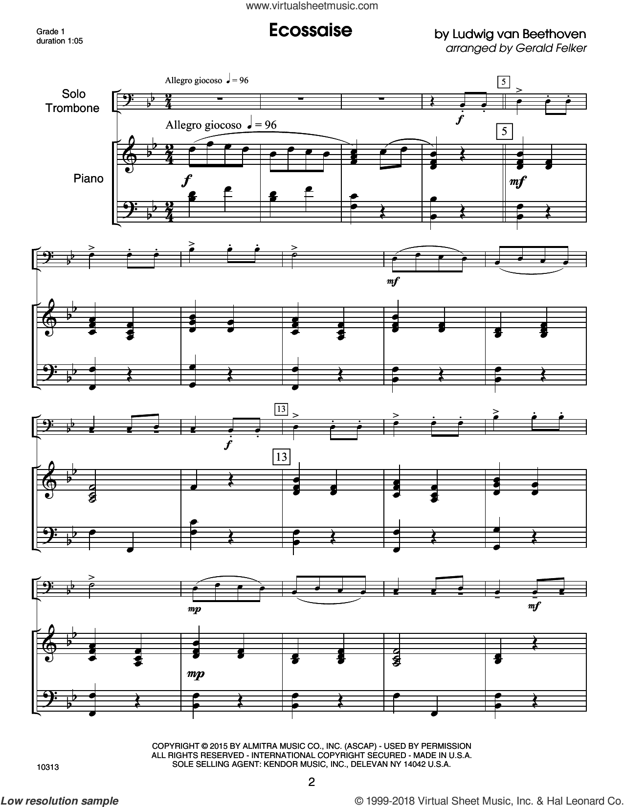 Kendor Debut Solos - Trombone - Piano Accompaniment sheet music for trombone and piano by Gerald Felker