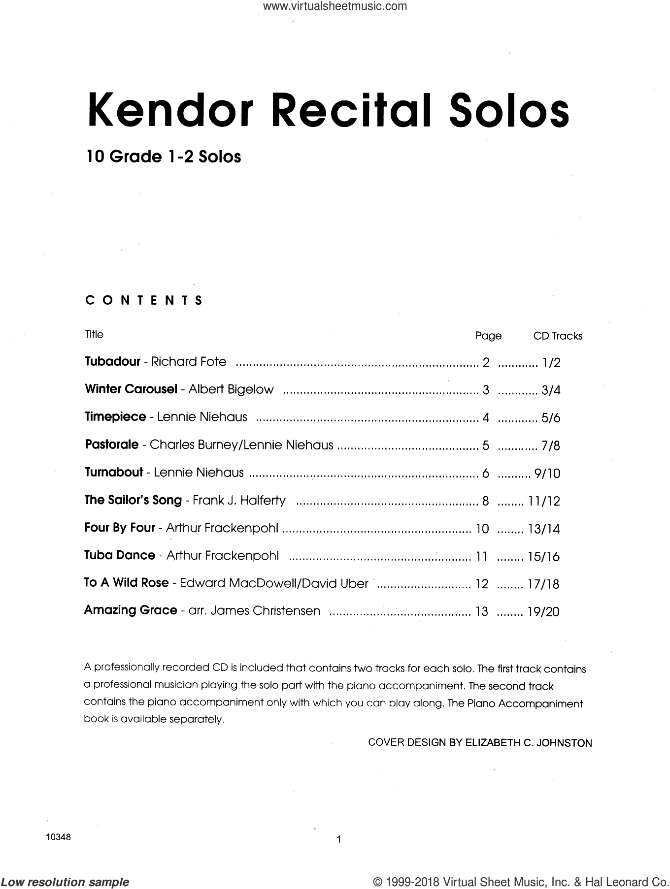 Kendor Recital Solos - Tuba - Solo Book sheet music for tuba solo, intermediate skill level