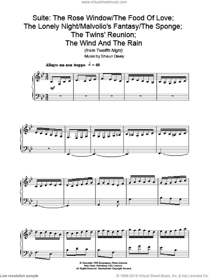 Rose Window / Food Of Love; Lonely Night / Malvolio's Fantasy / The Sponge; Twins Reunion; Wind Rain sheet music for piano solo by Shaun Davey. Score Image Preview.