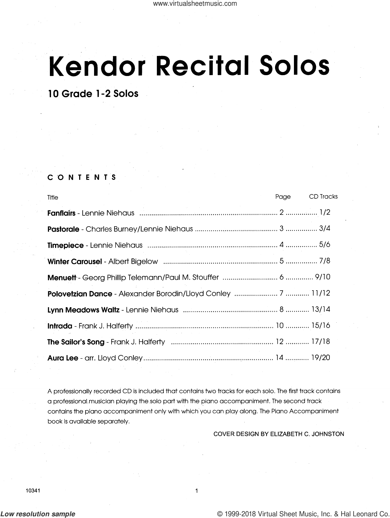Kendor Recital Solos - Horn In F - Solo Book sheet music for horn solo. Score Image Preview.
