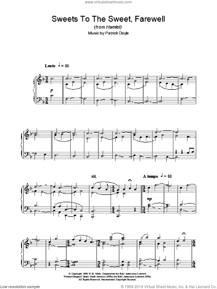 Sweets To The Sweet, Farewell (from Hamlet) sheet music for piano solo by Patrick Doyle, intermediate skill level