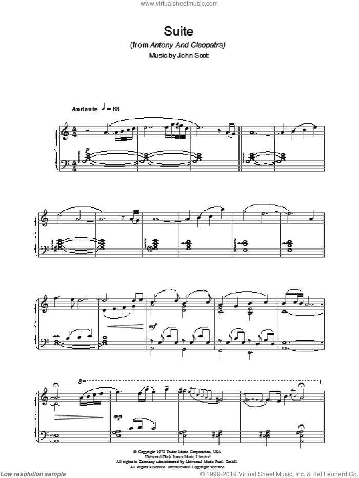 Suite (from Antony And Cleopatra) sheet music for piano solo by John Scott. Score Image Preview.