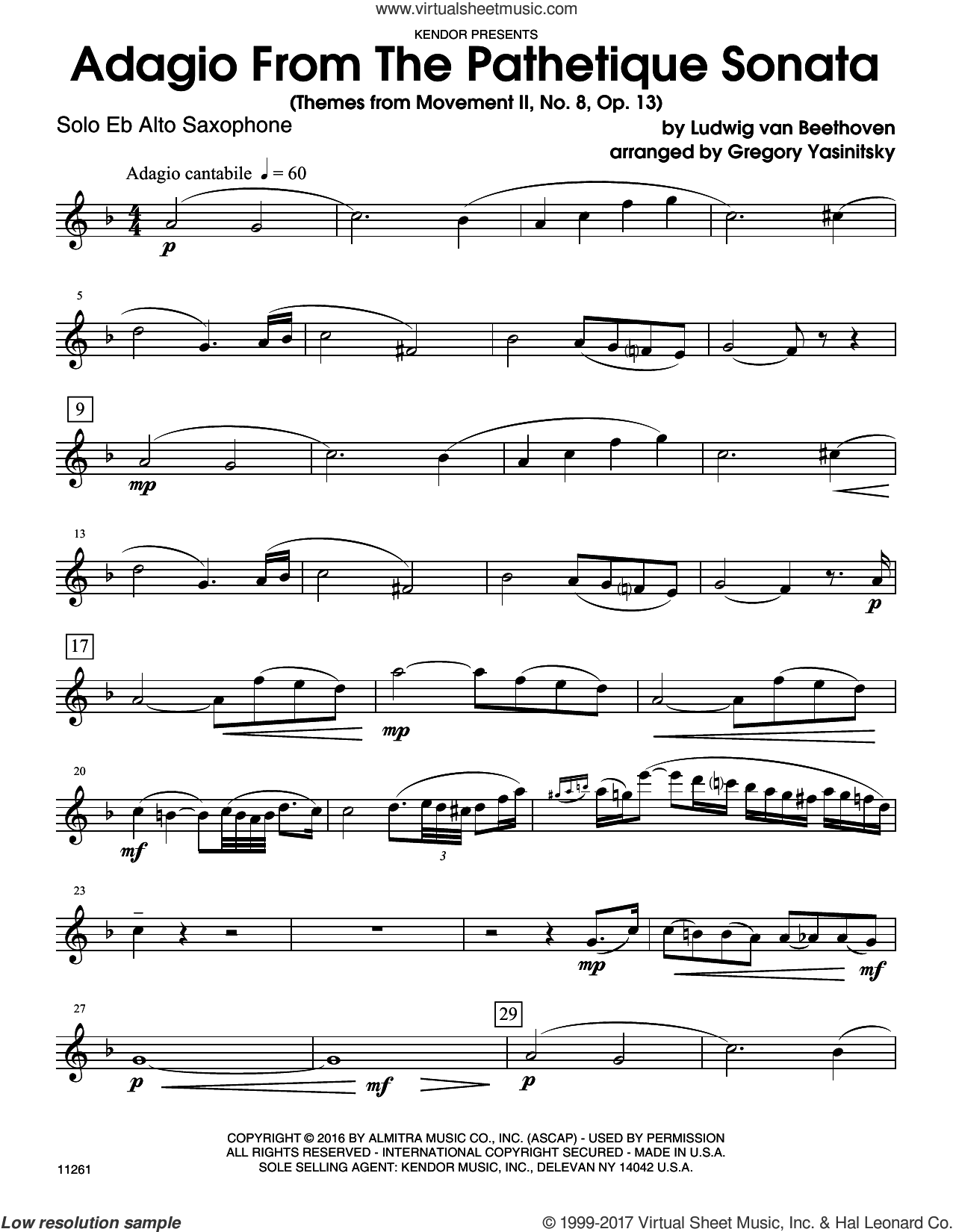 Adagio From The Pathetique Sonata (Themes From Movement II, No. 8, Op. 13) (complete set of parts) sheet music for alto saxophone and piano by Ludwig van Beethoven and Yasinitsky, classical score, intermediate. Score Image Preview.