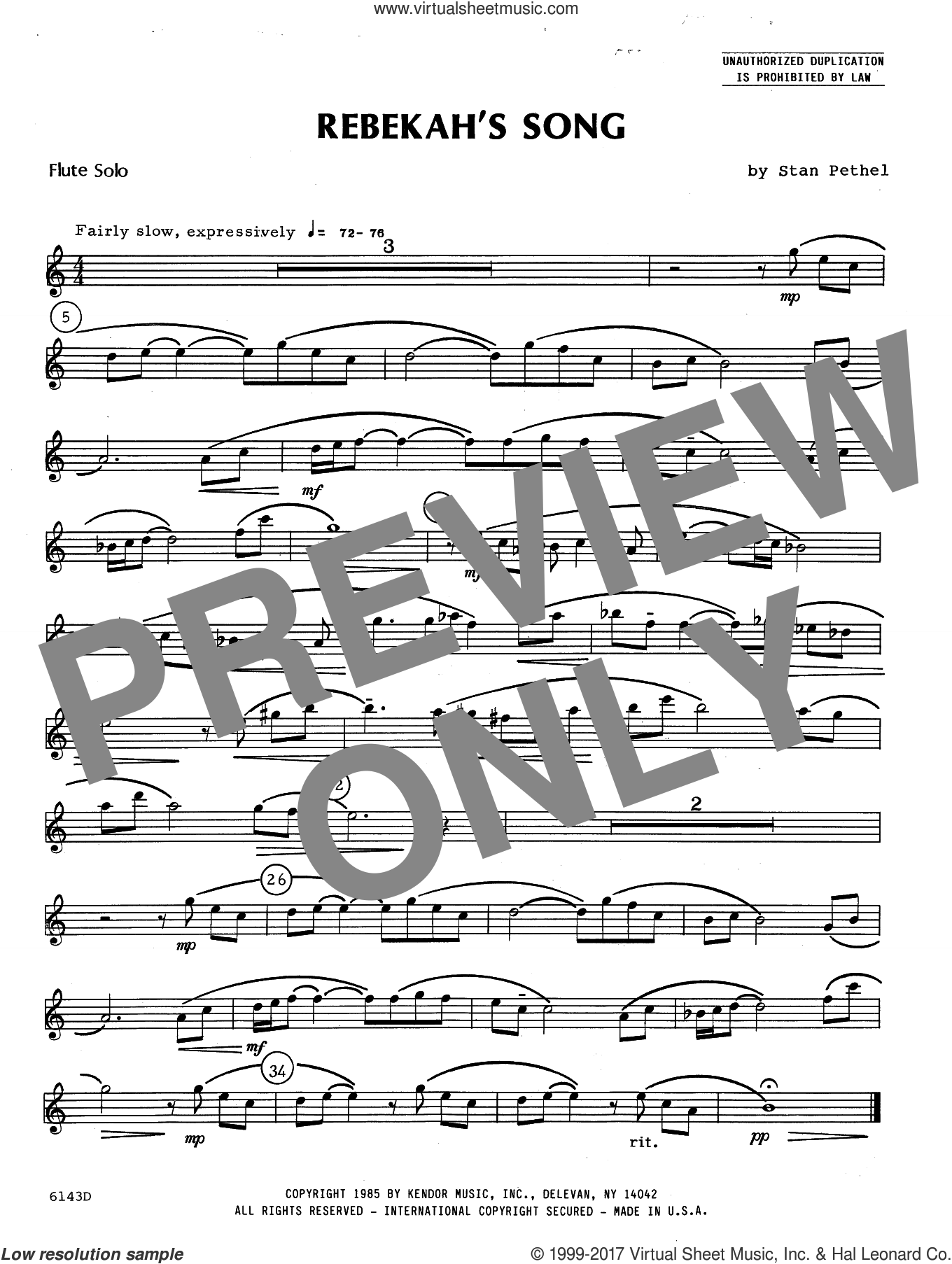 Rebekah's Song (complete set of parts) sheet music for flute and piano by Stan Pethel, intermediate flute. Score Image Preview.