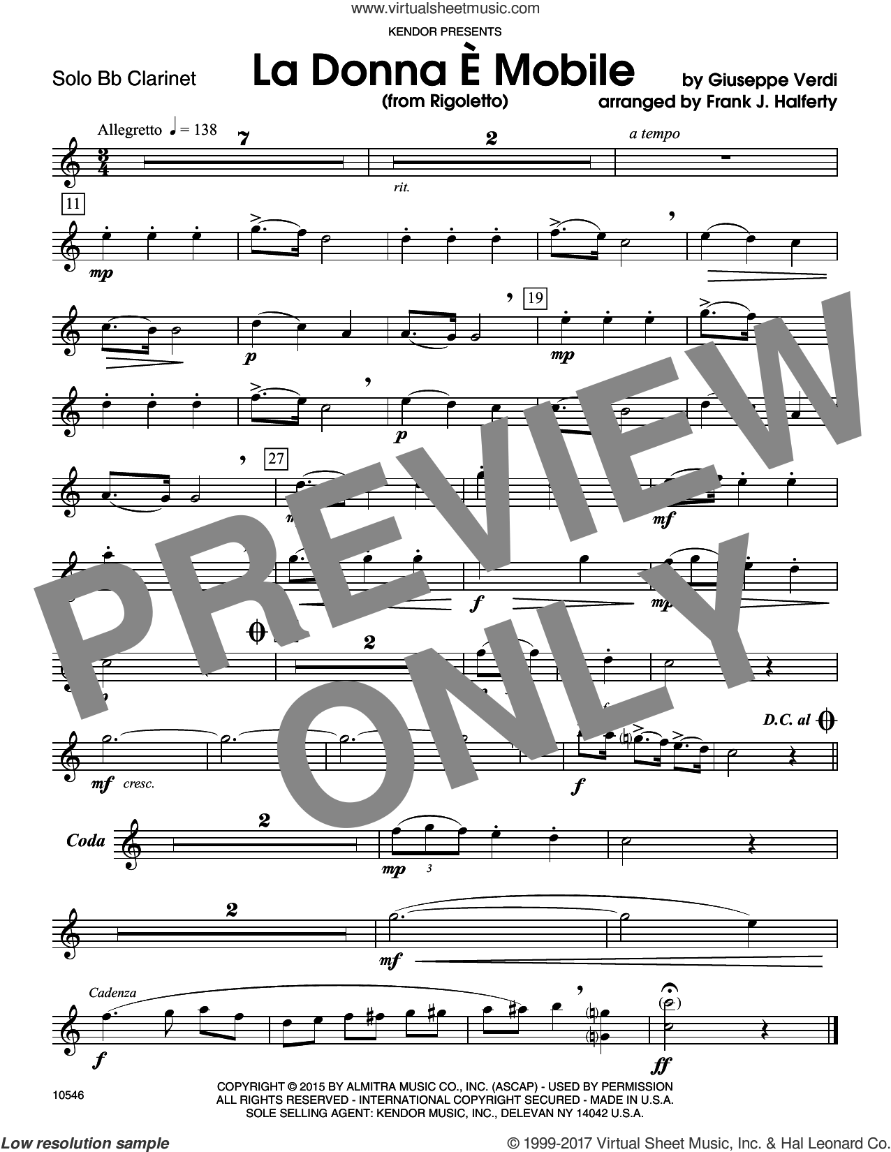 La Donna E Mobile (from Rigoletto) (complete set of parts) sheet music for clarinet and piano by Giuseppe Verdi and Frank J. Halferty, classical score, intermediate skill level