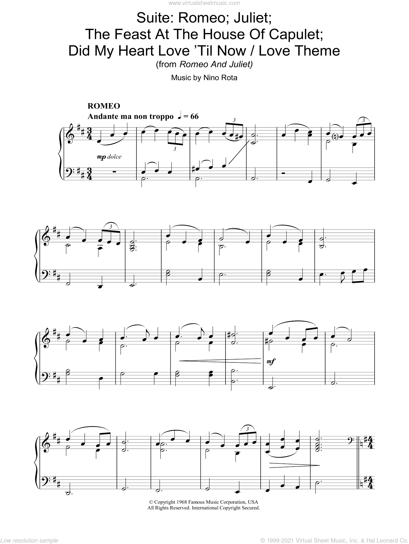 Suite: Romeo; Juliet; The Feast At The House Of Capulet; Did My Heart Love 'Til Now / Love Theme fr sheet music for piano solo by Nino Rota, intermediate. Score Image Preview.