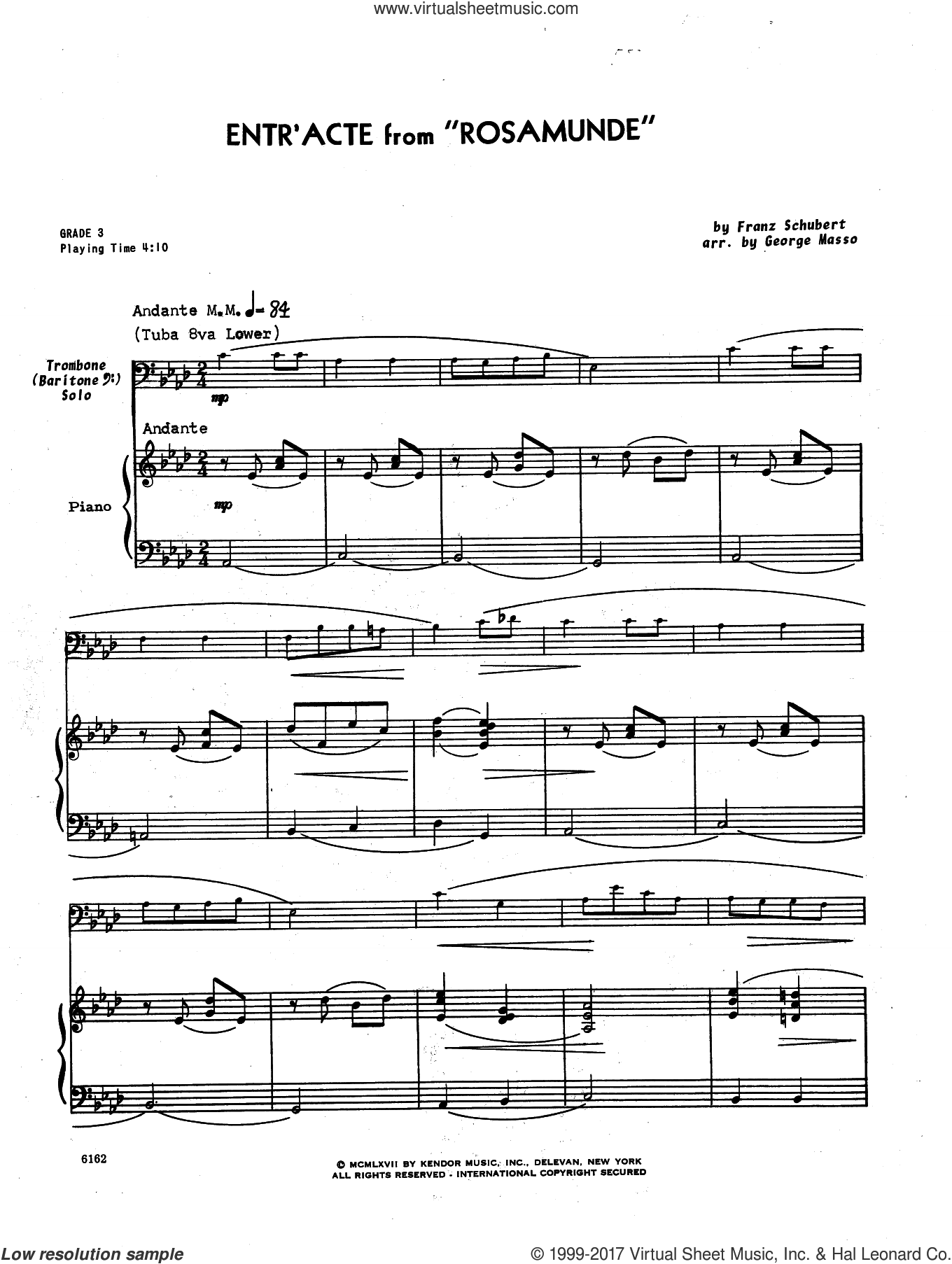 Entr'acte From 'Rosamunde' (complete set of parts) sheet music for trombone and piano by Franz Schubert and Masso, intermediate skill level