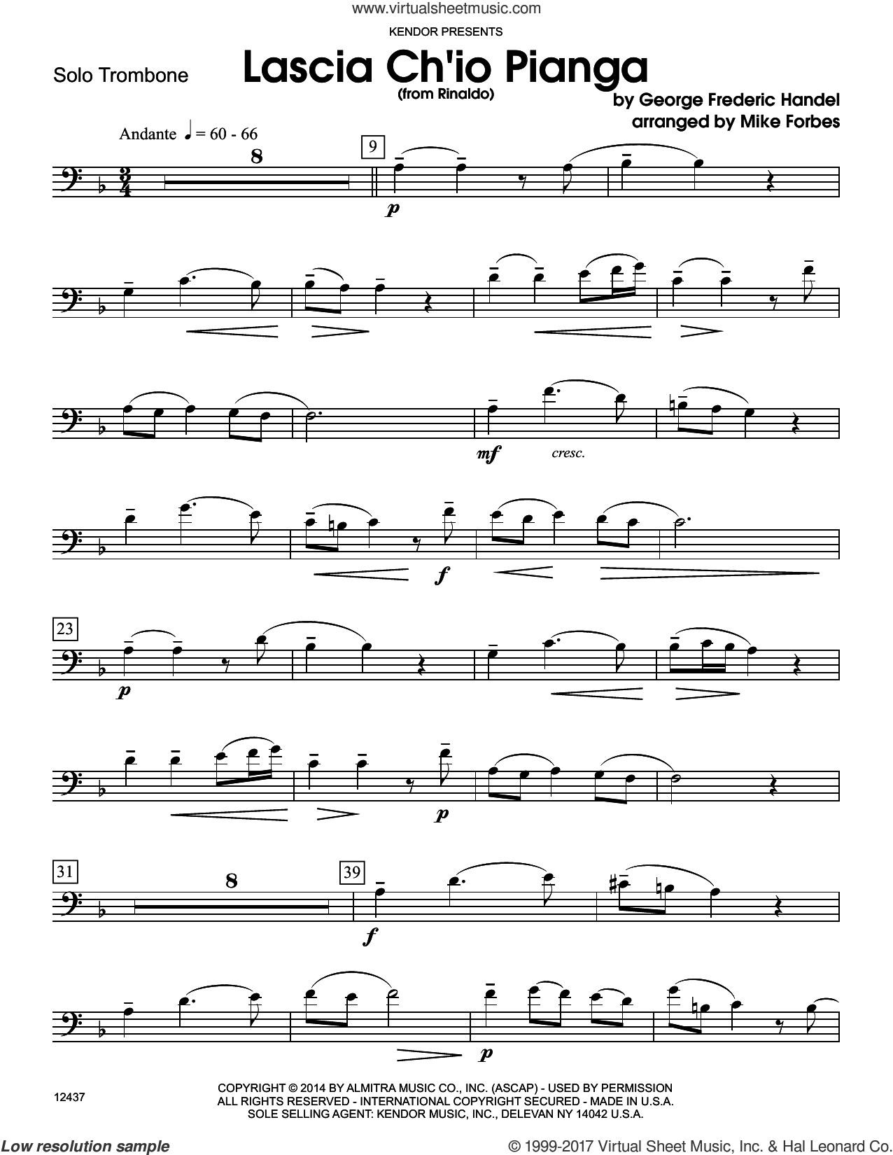 Lascia Ch'io Pianga (from Rinaldo) (complete set of parts) sheet music for trombone and piano by George Frideric Handel and Michael Forbes, classical score, intermediate skill level