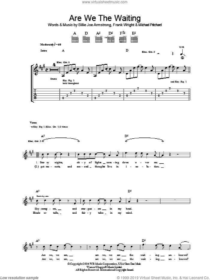 Are We The Waiting sheet music for guitar (tablature) by Green Day, Billie Joe Armstrong, Frank Wright and Mike Pritchard. Score Image Preview.