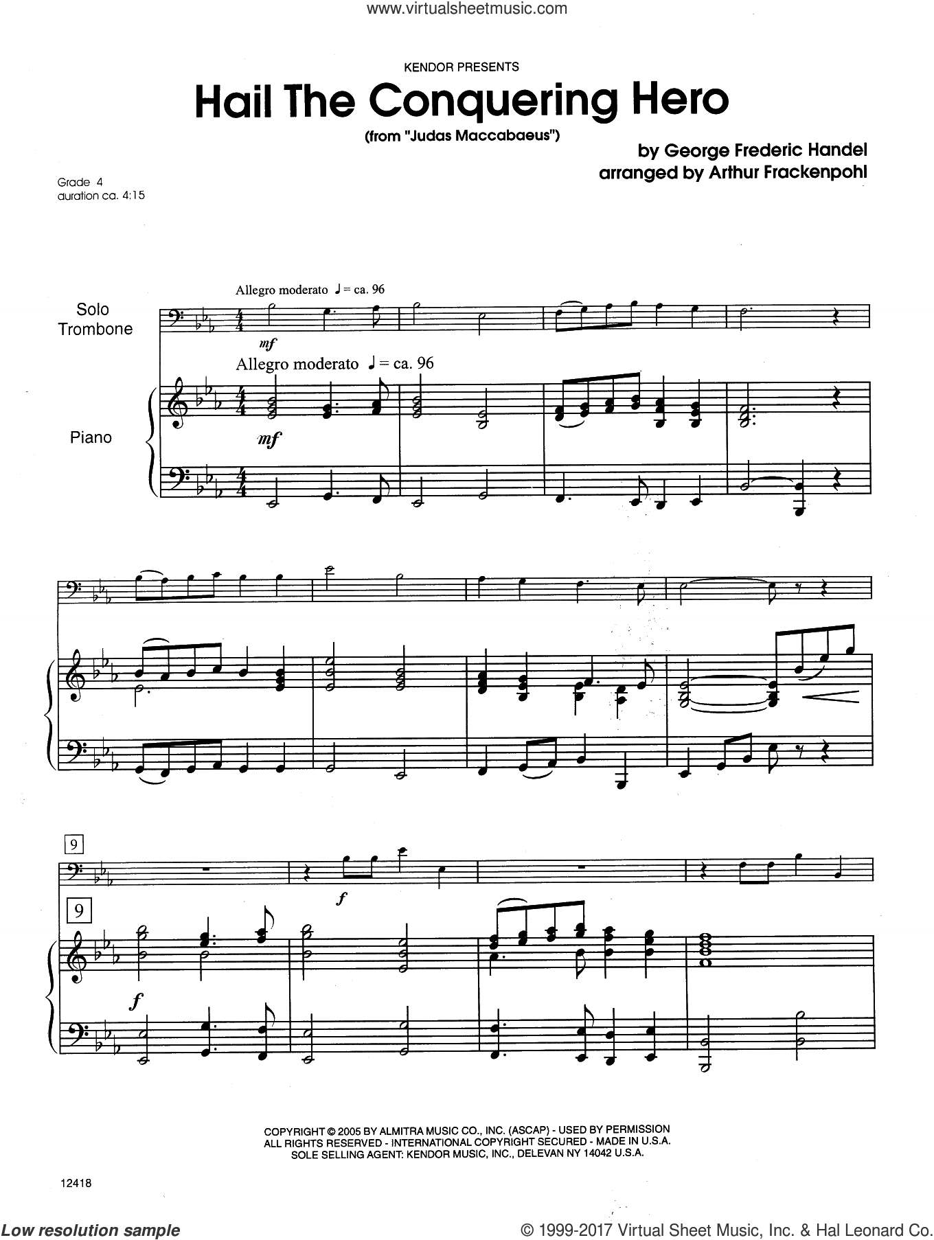 Hail The Conquering Hero (complete set of parts) sheet music for trombone and piano by George Frideric Handel and Steve Frackenpohl, intermediate skill level