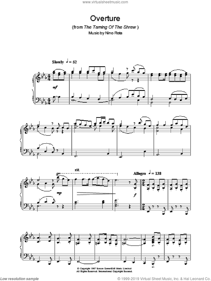 Overture (from The Taming Of The Shrew) sheet music for piano solo by Nino Rota. Score Image Preview.