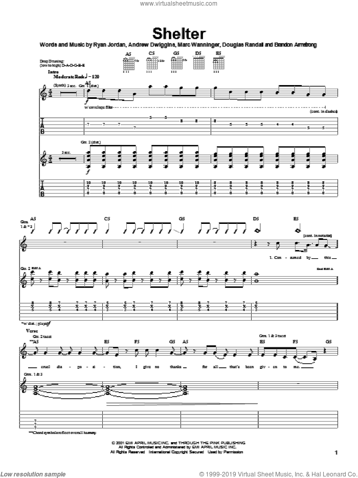 Shelter sheet music for guitar (tablature) by Greenwheel, Spider-Man (Movie), Andrew Dwiggins, Brandon Armstrong and Douglas Randall, intermediate skill level