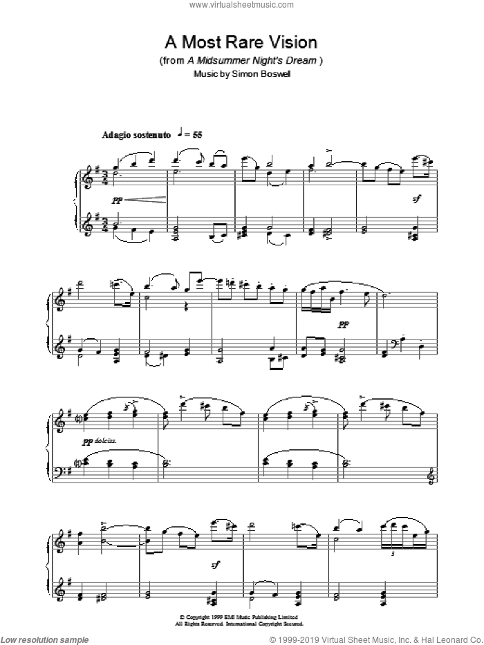 A Most Rare Vision (from A Midsummer's Night's Dream) sheet music for piano solo by Simon Boswell. Score Image Preview.