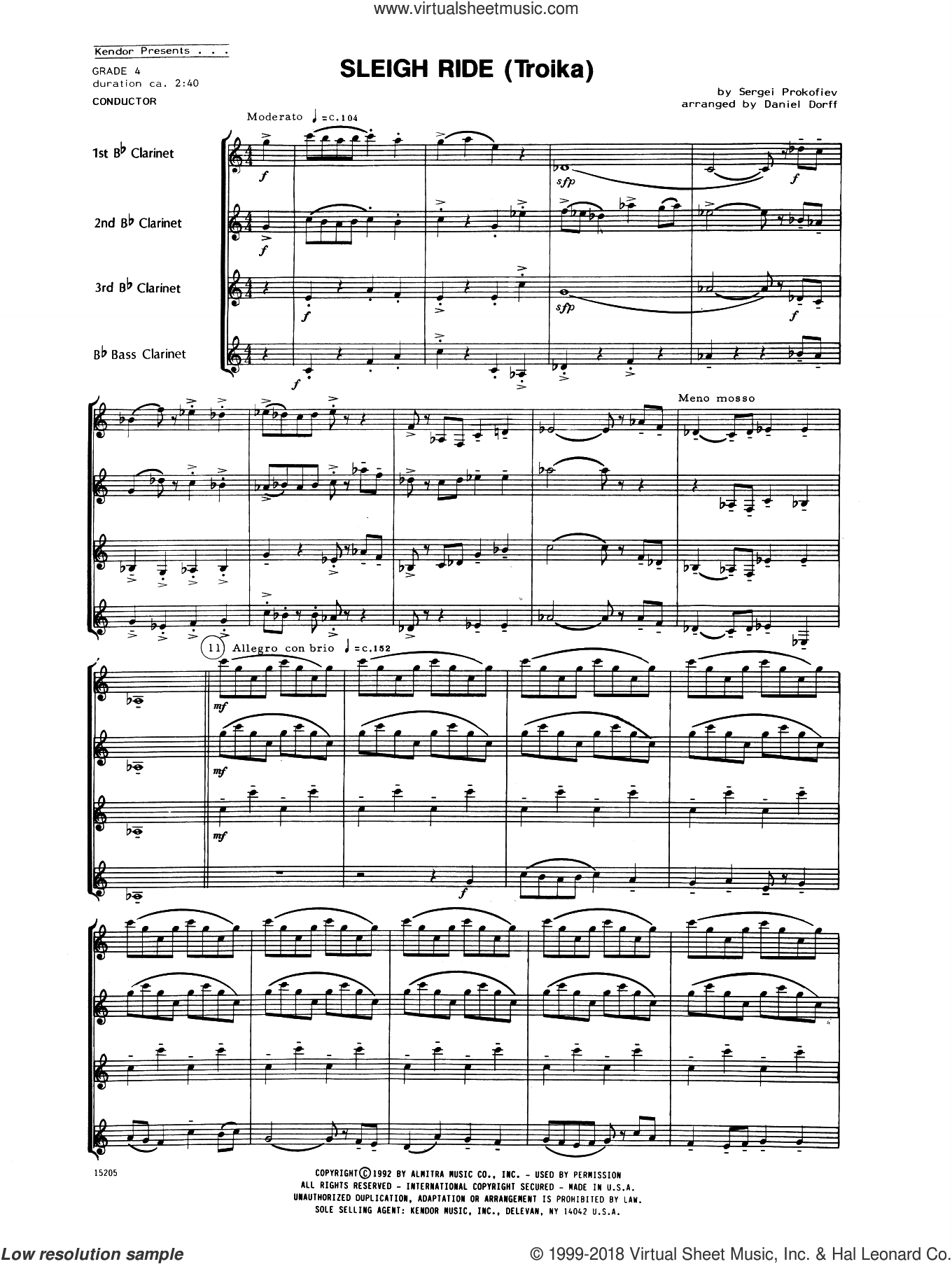 Sleigh Ride (Troika) (COMPLETE) sheet music for clarinet quartet by Daniel Dorff and Prokofiev, intermediate. Score Image Preview.