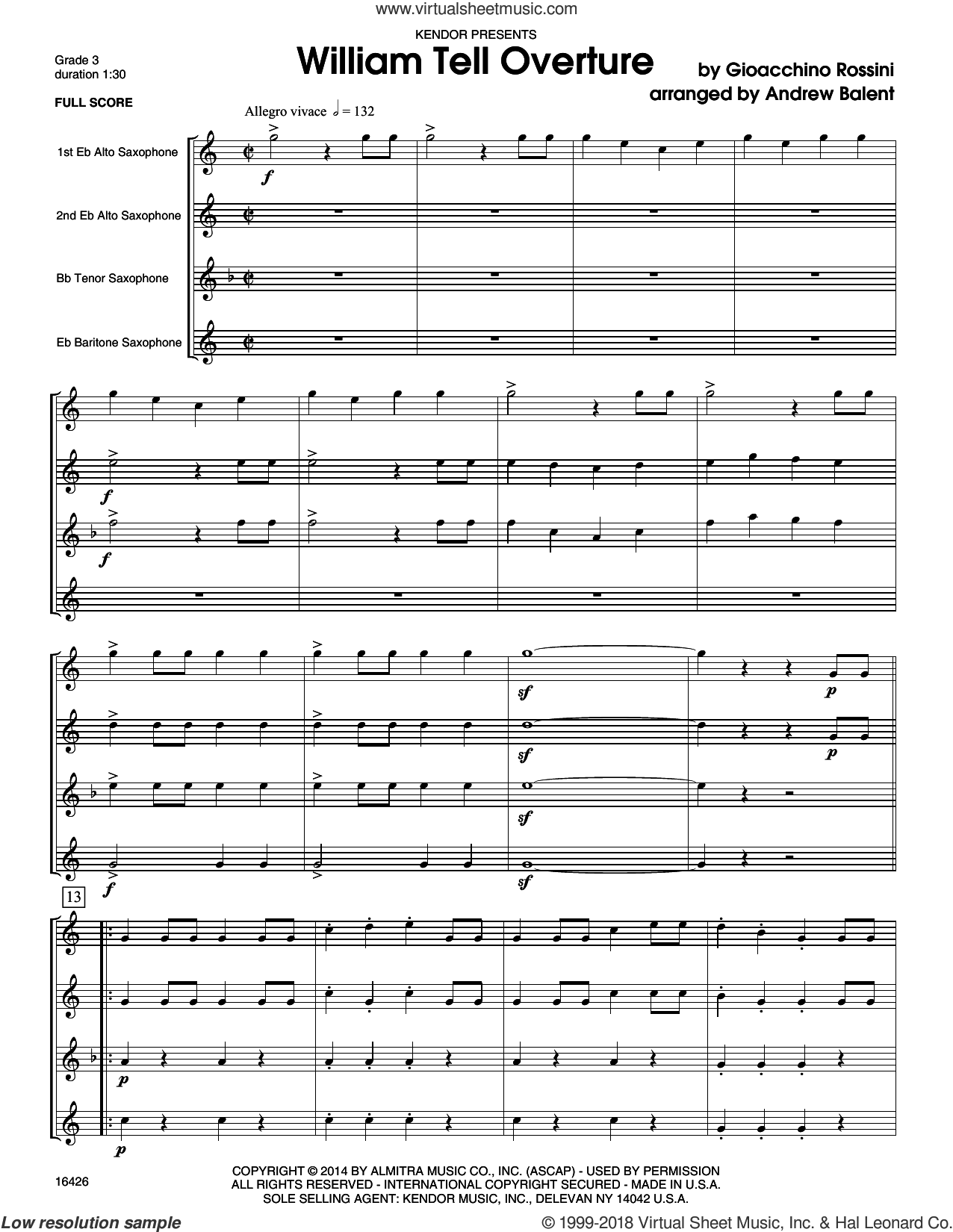 William Tell Overture (COMPLETE) sheet music for saxophone quartet by Gioacchino Rossini and Andrew Balent, intermediate saxophone quartet. Score Image Preview.