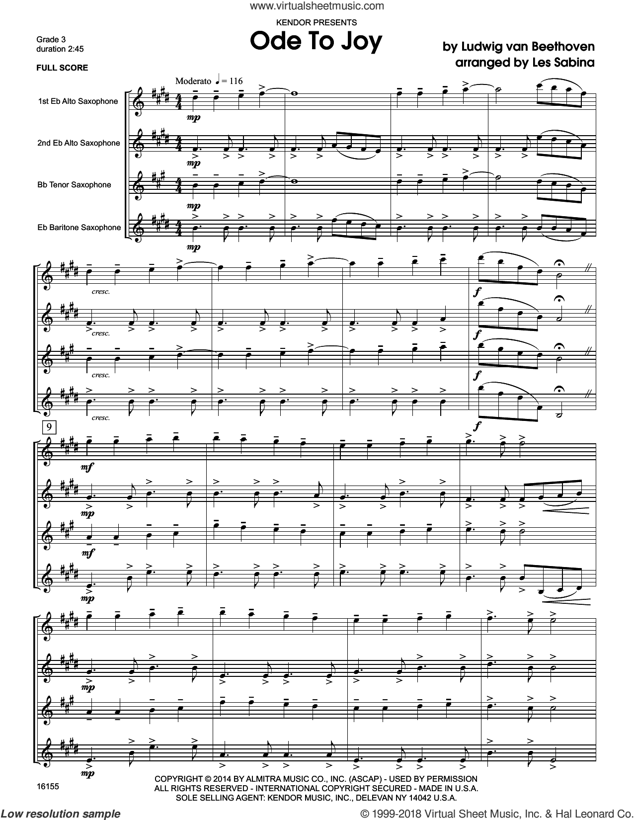 Ode To Joy (COMPLETE) sheet music for saxophone quartet by Ludwig van Beethoven and Les Sabina, intermediate skill level