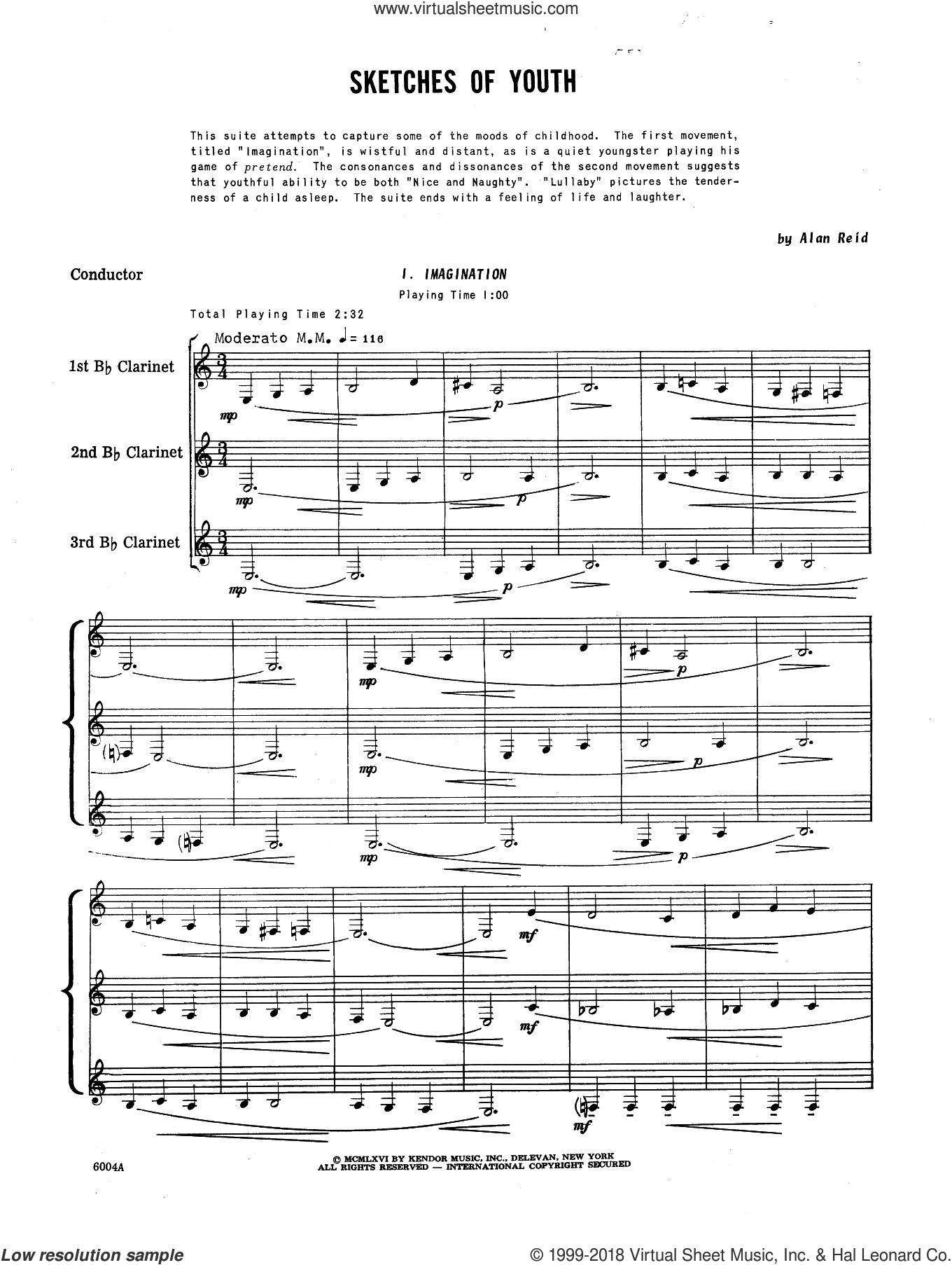 Sketches Of Youth (COMPLETE) sheet music for clarinet trio by Reid, intermediate. Score Image Preview.