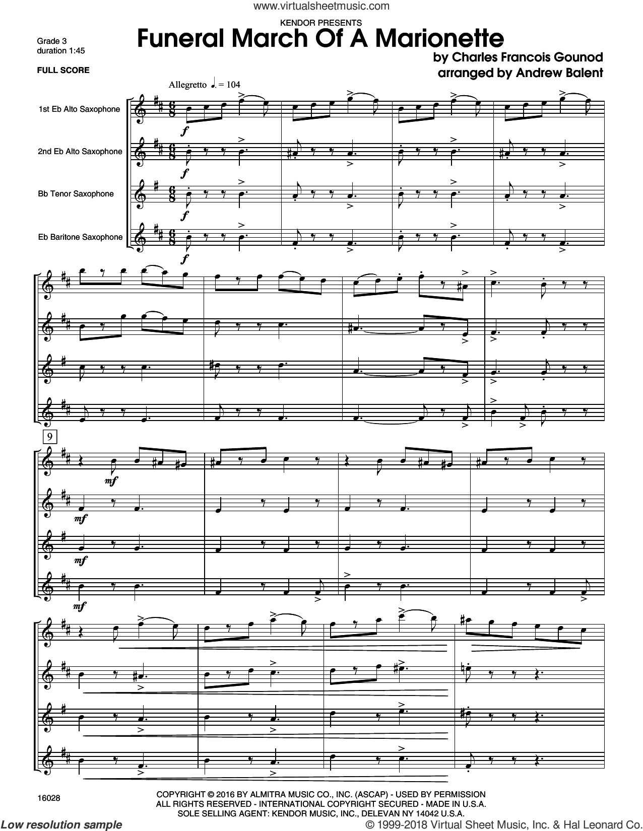 Funeral March Of A Marionette (COMPLETE) sheet music for saxophone quartet by Charles Gounod and Balent, intermediate saxophone quartet. Score Image Preview.
