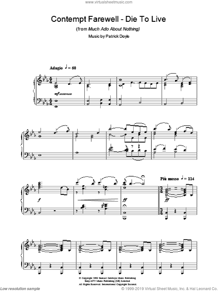 Contempt Farewell - Die To Live (from Much Ado About Nothing) sheet music for piano solo by Patrick Doyle, intermediate skill level