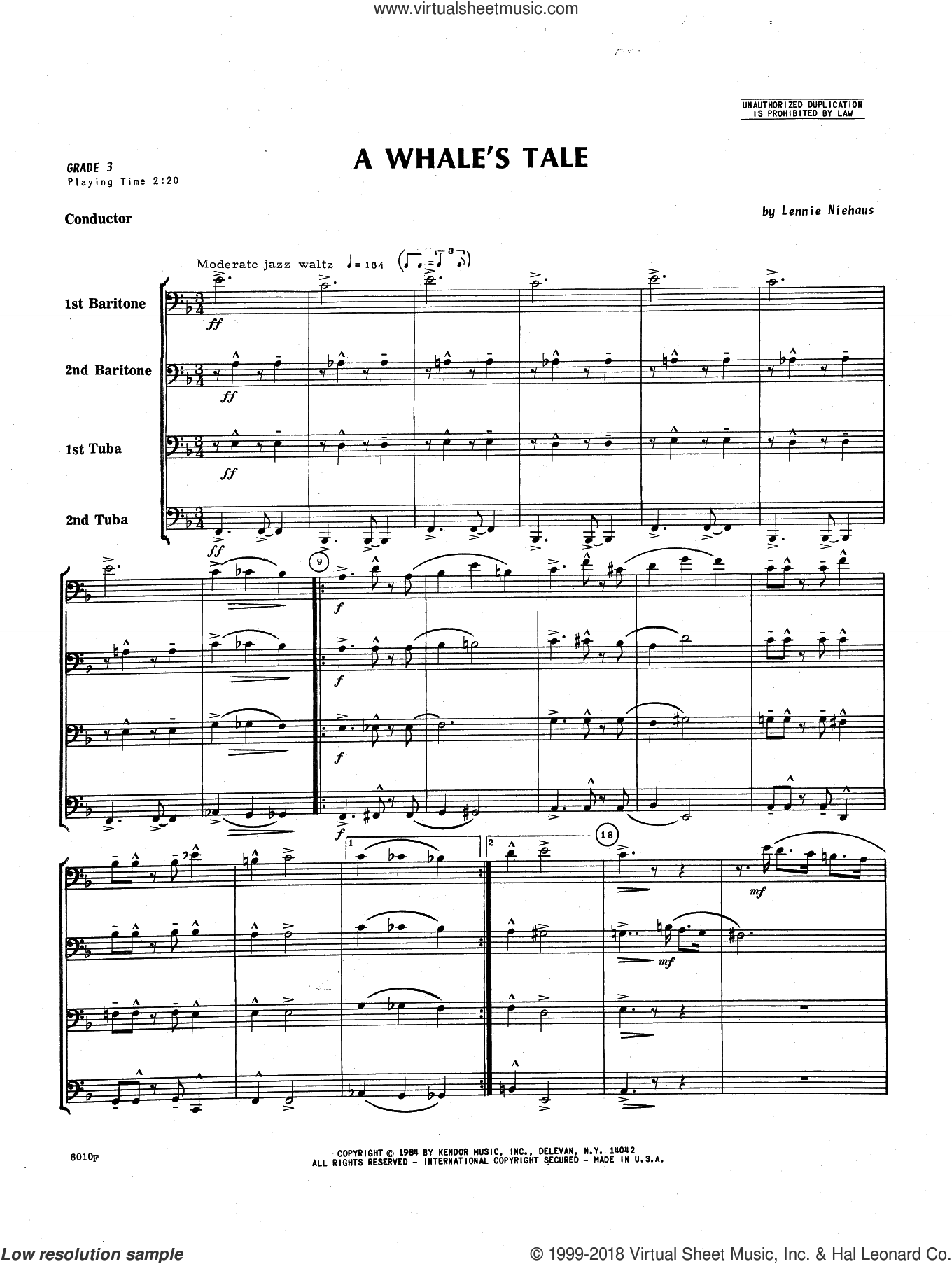 A Whale's Tale (COMPLETE) sheet music for brass ensemble by Lennie Niehaus, intermediate. Score Image Preview.