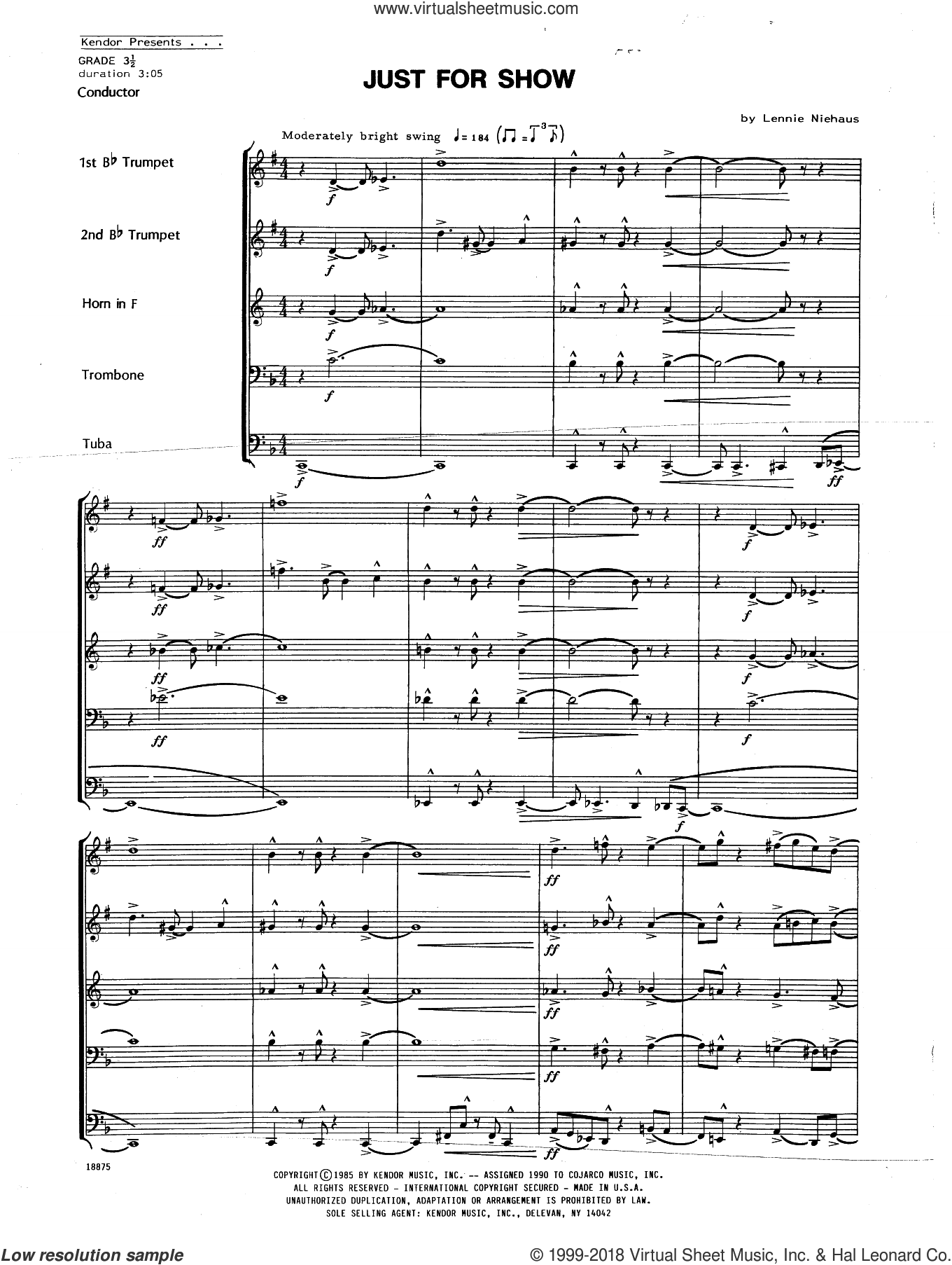 Just For Show (COMPLETE) sheet music for brass ensemble by Lennie Niehaus, intermediate brass ensemble. Score Image Preview.
