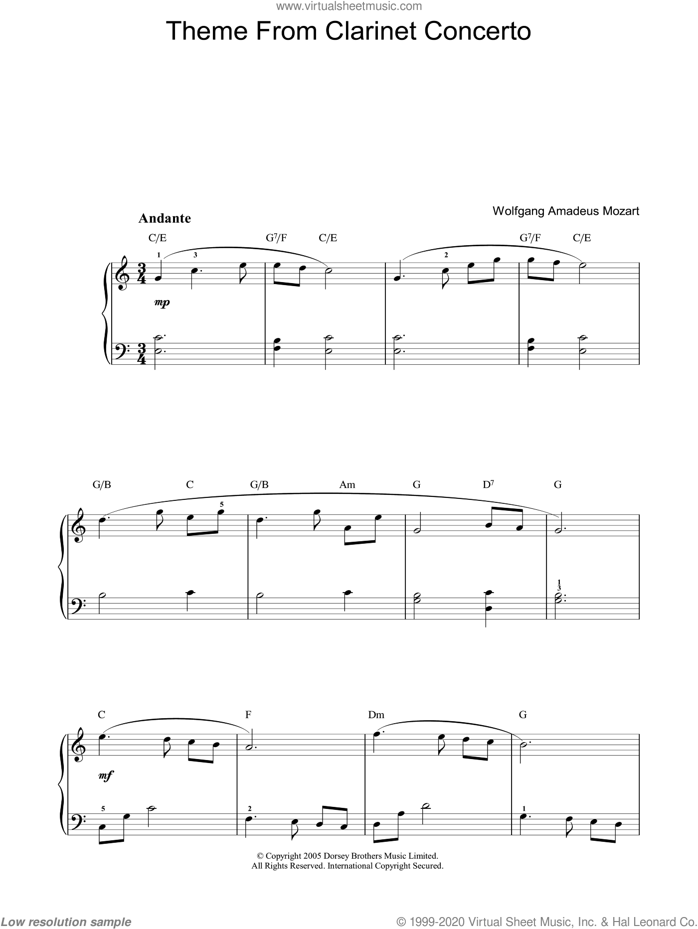 Slow Movement Theme from Clarinet Concerto sheet music for voice, piano or guitar by Wolfgang Amadeus Mozart, classical score, intermediate skill level