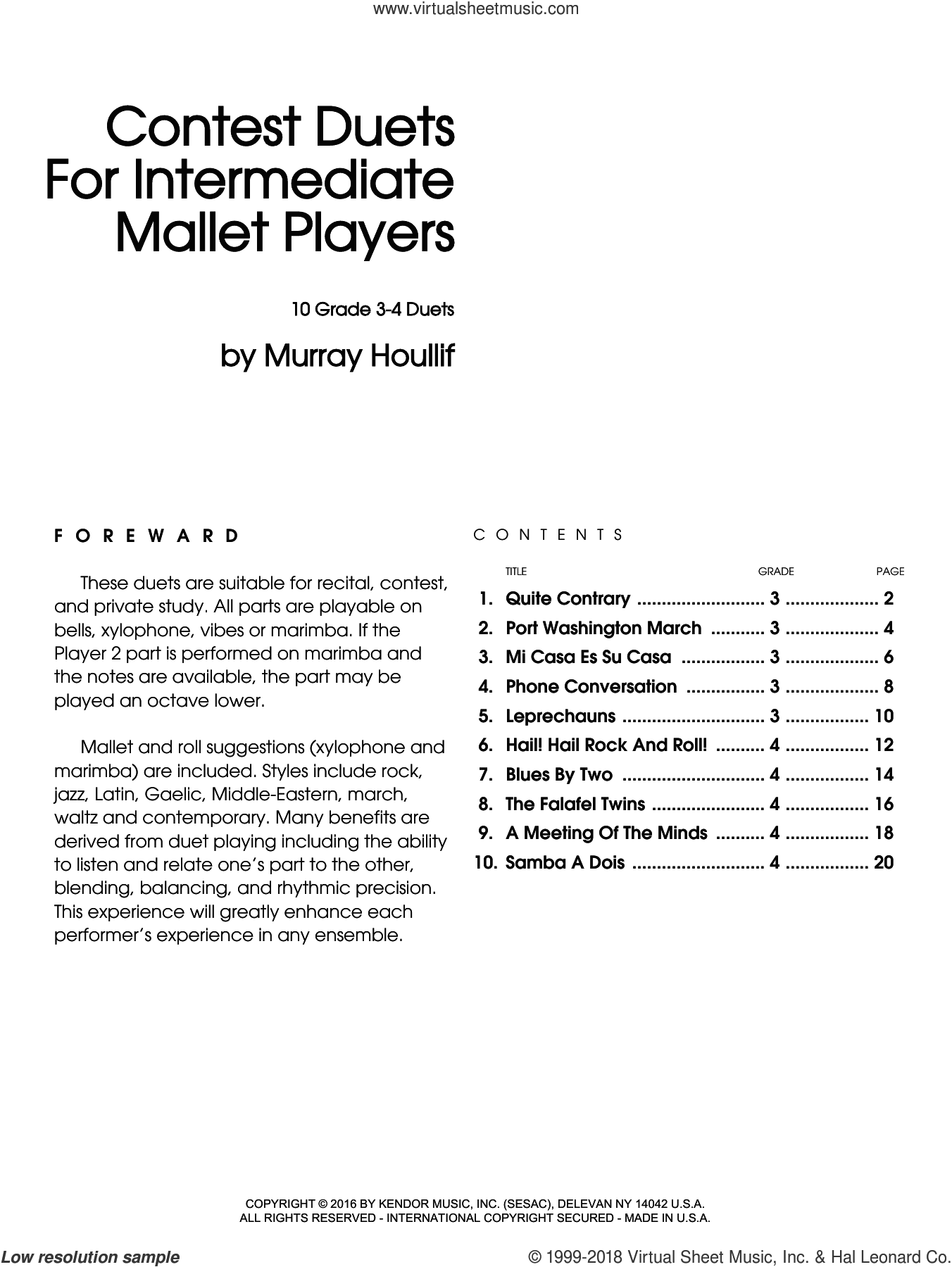 Contest Duets For Intermediate Mallet Players sheet music for percussions by Houllif. Score Image Preview.