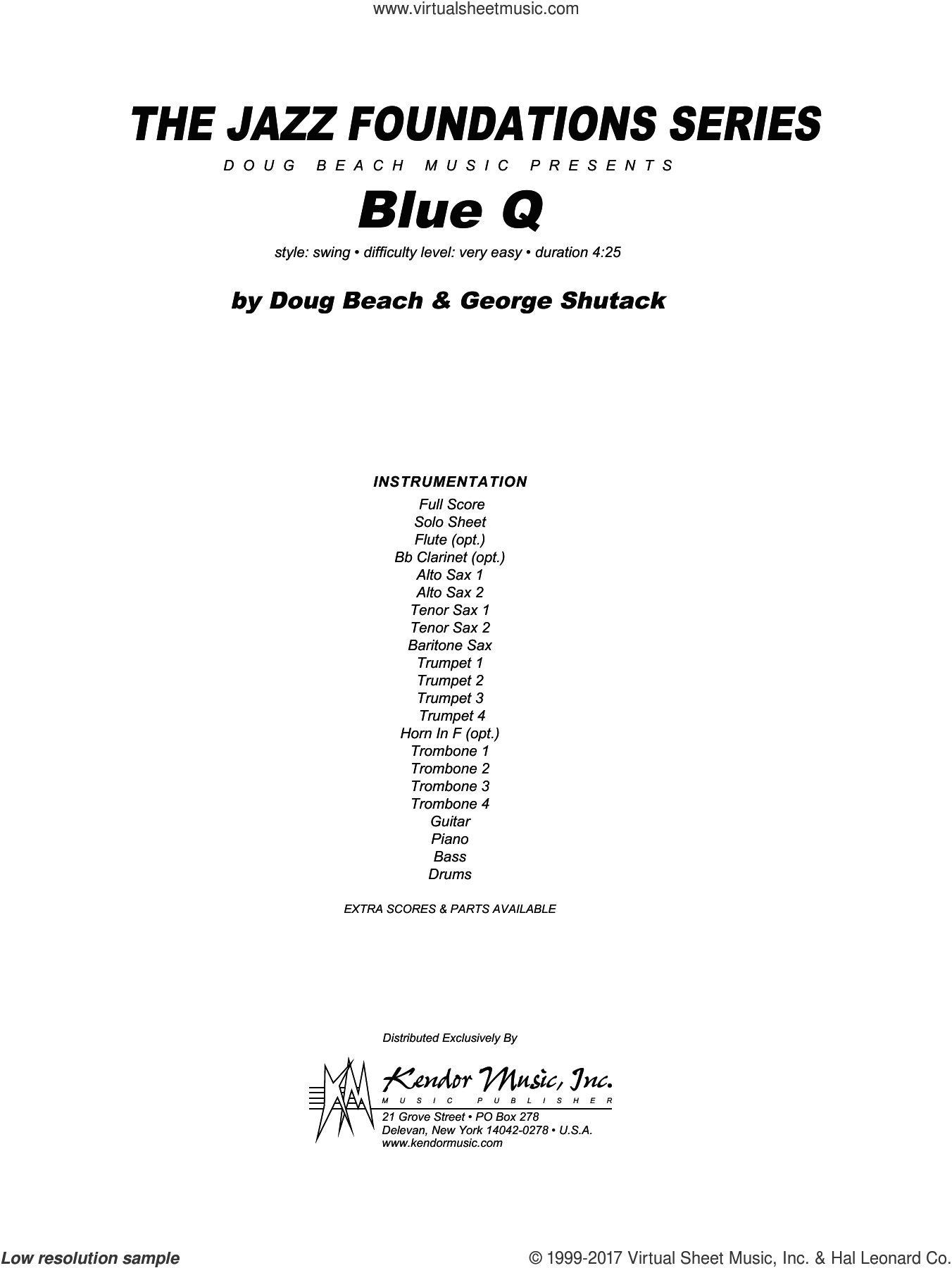 Blue Q (COMPLETE) sheet music for jazz band by Doug Beach and George Shutack, intermediate