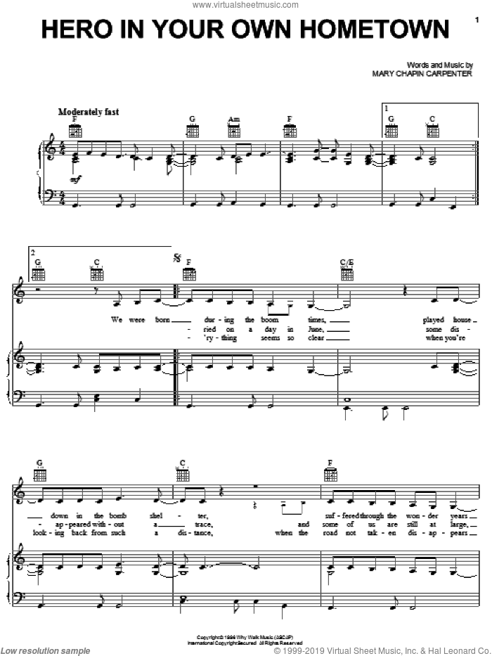 Hero In Your Own Hometown sheet music for voice, piano or guitar by Mary Chapin Carpenter, intermediate. Score Image Preview.