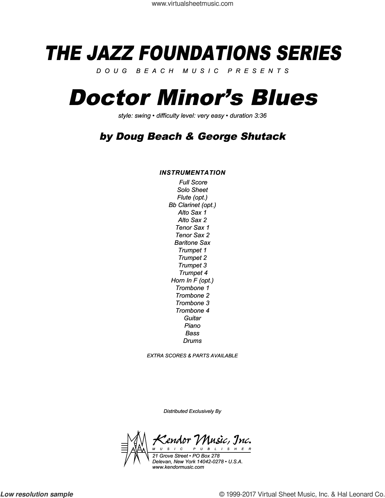 Doctor Minor's Blues (COMPLETE) sheet music for jazz band by Beach and Shutack, intermediate skill level