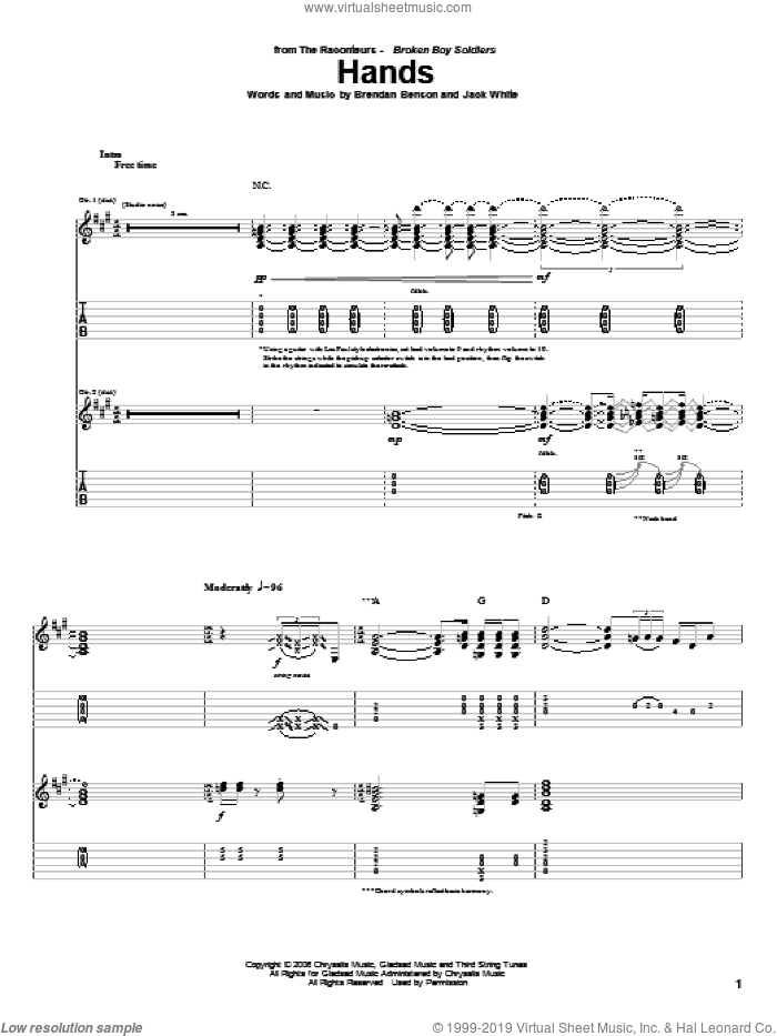 Hands sheet music for guitar (tablature) by Jack White, The Raconteurs and Brendan Benson. Score Image Preview.
