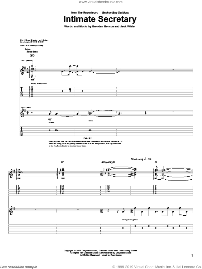 Intimate Secretary sheet music for guitar (tablature) by Jack White, The Raconteurs and Brendan Benson. Score Image Preview.