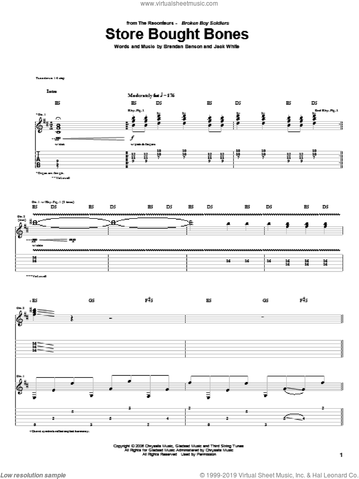 Store Bought Bones sheet music for guitar (tablature) by Jack White, The Raconteurs and Brendan Benson. Score Image Preview.