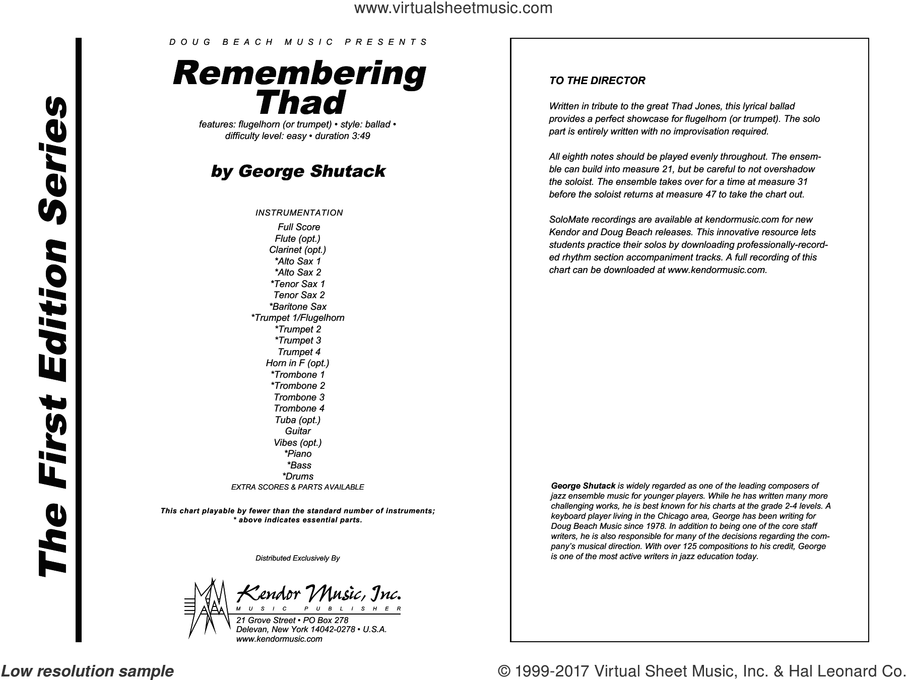 Remembering Thad (COMPLETE) sheet music for jazz band by George Shutack, intermediate skill level