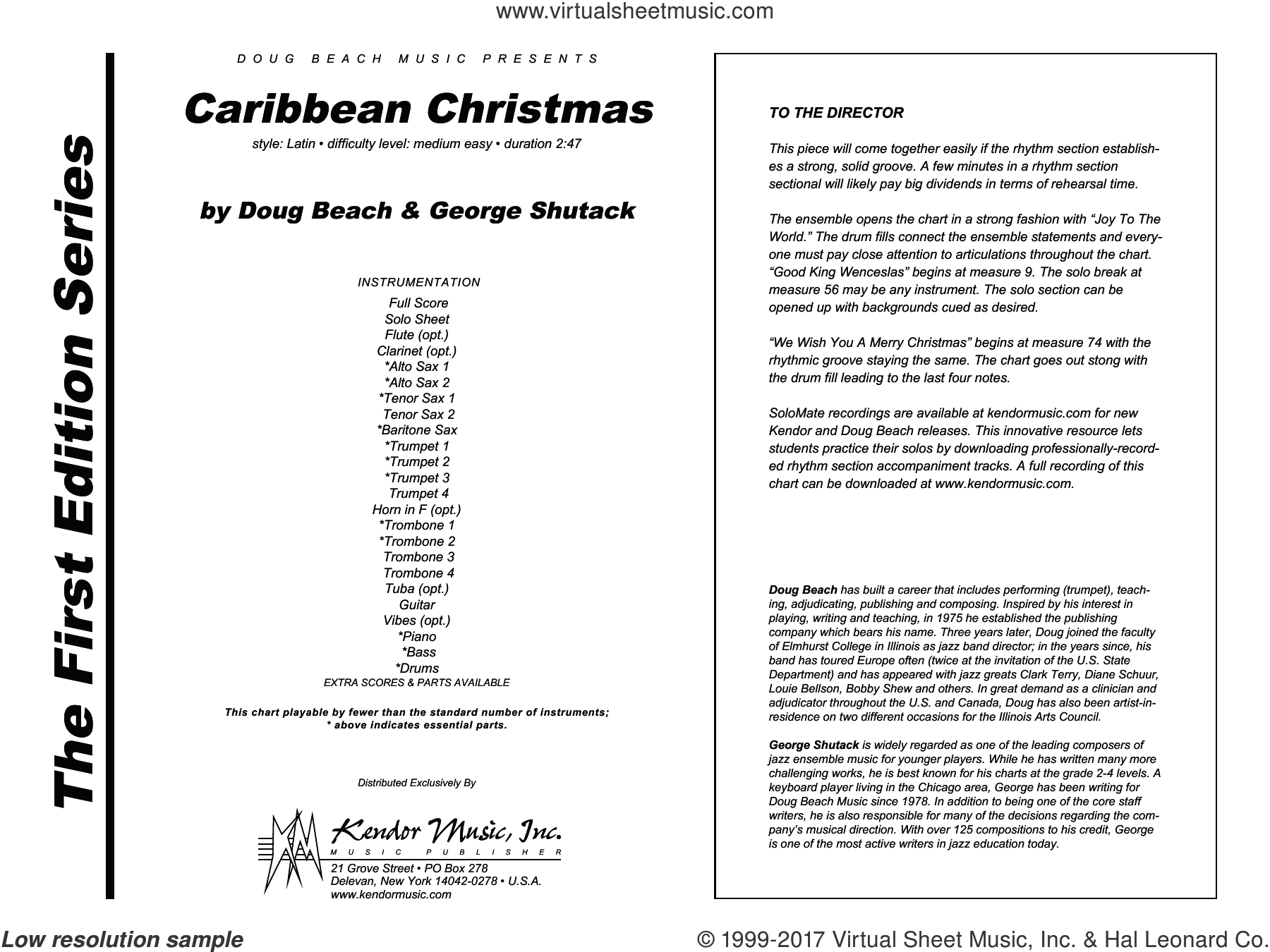 Caribbean Christmas (COMPLETE) sheet music for jazz band by Doug Beach and George Shutack, intermediate. Score Image Preview.