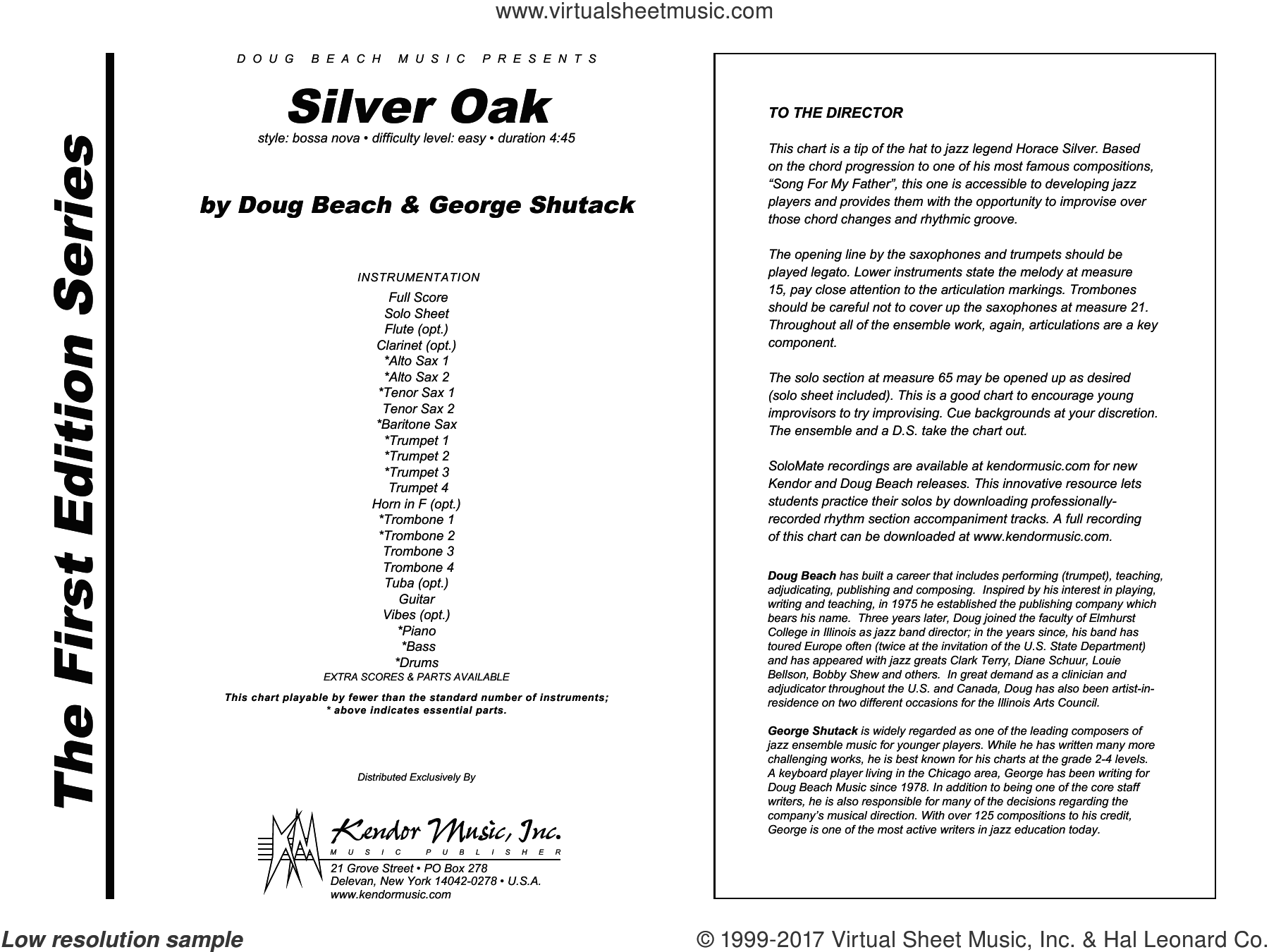Silver Oak (COMPLETE) sheet music for jazz band by Beach and Shutack, intermediate skill level