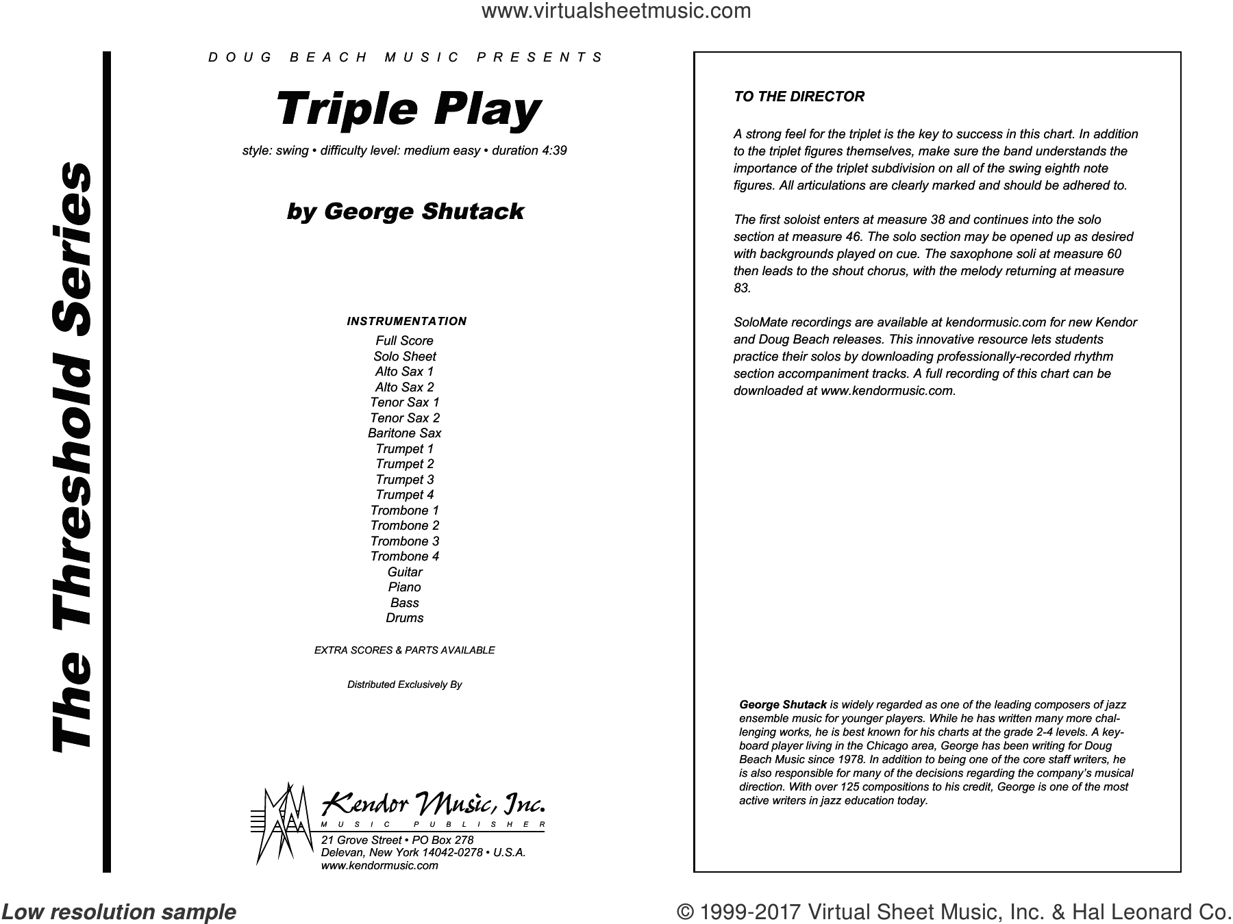 Triple Play (COMPLETE) sheet music for jazz band by George Shutack, intermediate skill level